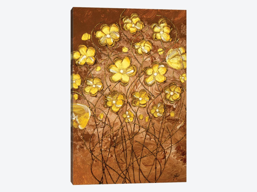 Gold Blossoms On Coffee by Amber Lamoreaux 1-piece Canvas Print