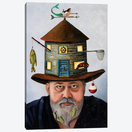 The Fisherman Canvas Print #LSA186} by Leah Saulnier Canvas Print