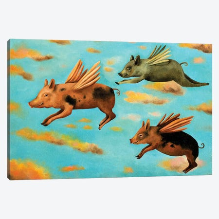 When Pigs Fly Canvas Print #LSA199} by Leah Saulnier Canvas Art Print