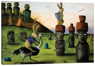 Battle Over Easter Island Canvas Art Print