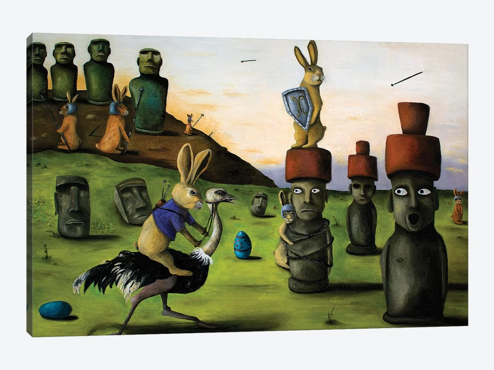 Battle Over Easter Island by Leah Saulnier 1-piece Art Print
