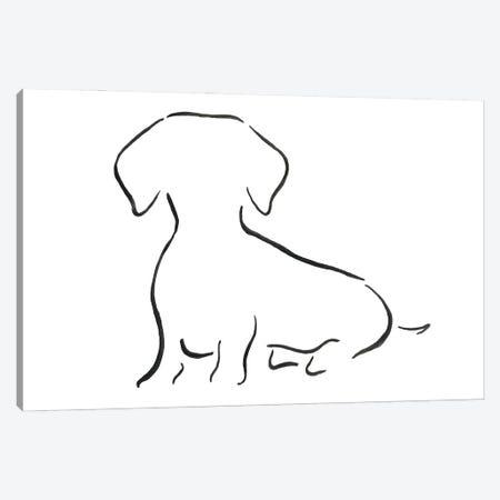 Dachshund Sitting Canvas Print #LSB18} by Lesley Bishop Canvas Artwork