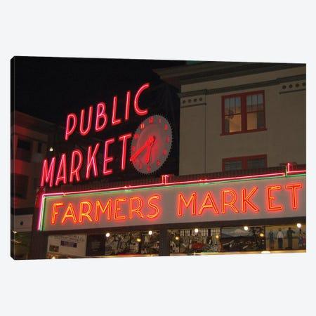 Public Market Center & Farmers Market Neon Signs, Pike Place Market, Seattle, Washington, USA Canvas Print #LSE1} by Lynn Seldon Canvas Print
