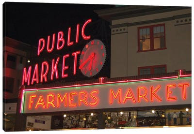 Public Market Center & Farmers Market Neon Signs, Pike Place Market, Seattle, Washington, USA Canvas Art Print