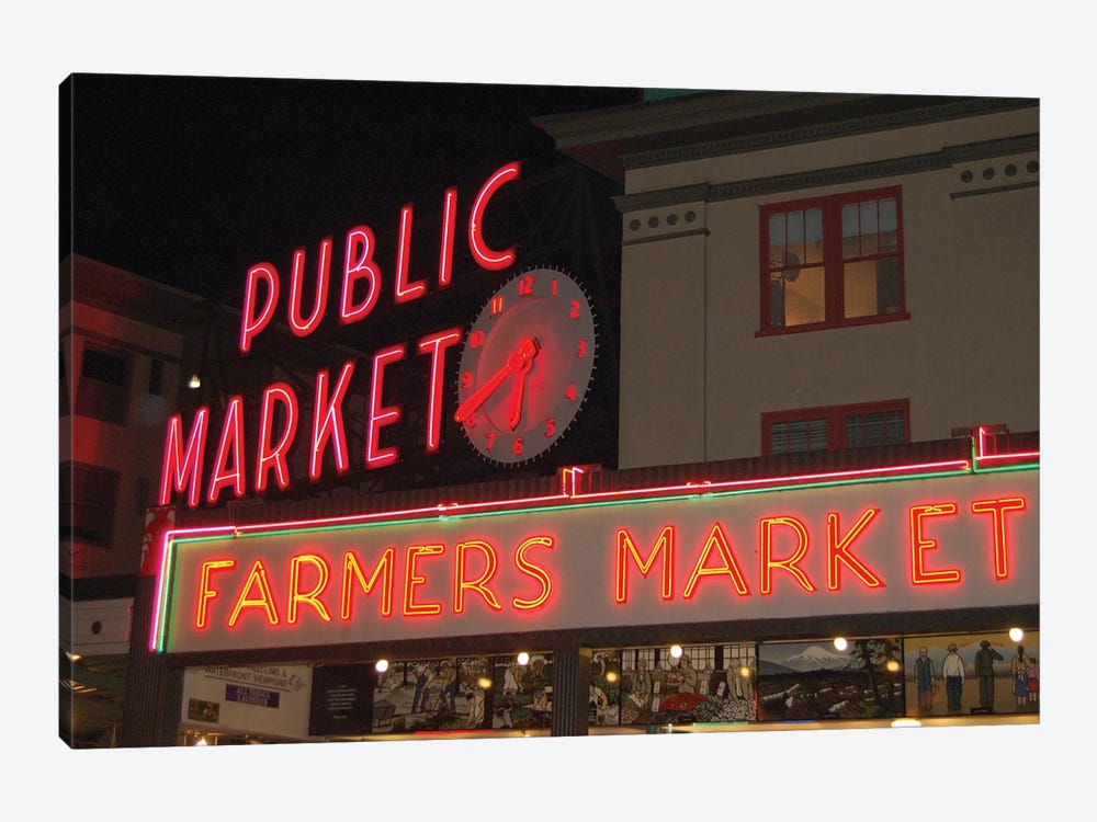 Public Market Center & Farmers Market Neon Signs, Pike Place Market, Seattle, Washington, USA by Lynn Seldon 1-piece Canvas Art Print