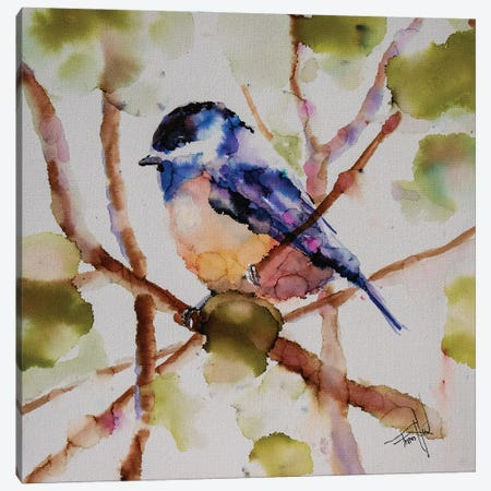 Chickadee Dee Dee Canvas Print #LSF14} by Art by Leslie Franklin Canvas Art Print