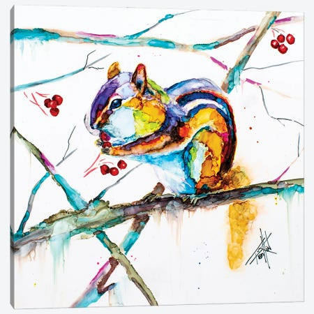 Chipmunk Cheeks Canvas Print #LSF16} by Art by Leslie Franklin Art Print