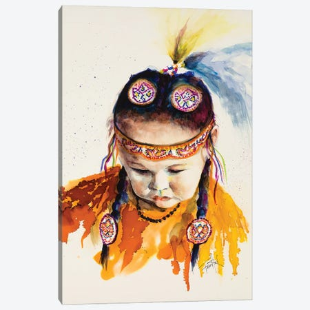 First Nations Powwow Princess Canvas Print #LSF26} by Art by Leslie Franklin Canvas Wall Art