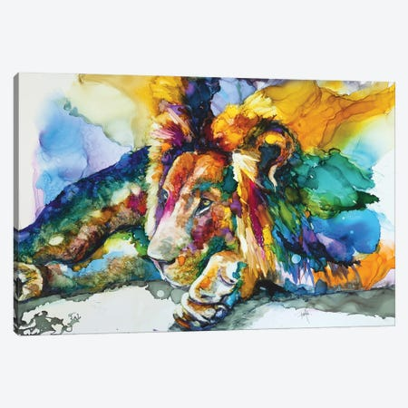 Lion Around Canvas Print #LSF37} by Art by Leslie Franklin Canvas Art Print