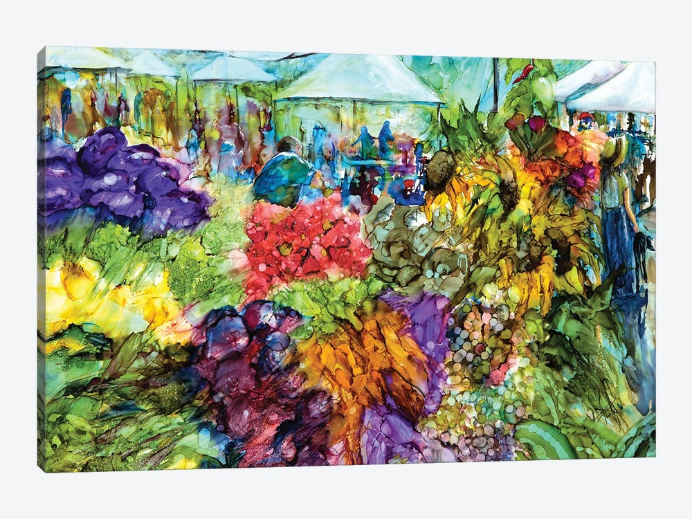 At the Market by Art by Leslie Franklin 1-piece Canvas Wall Art