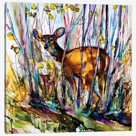 Oh Deer Me, I See Three Canvas Print #LSF45} by Art by Leslie Franklin Canvas Artwork