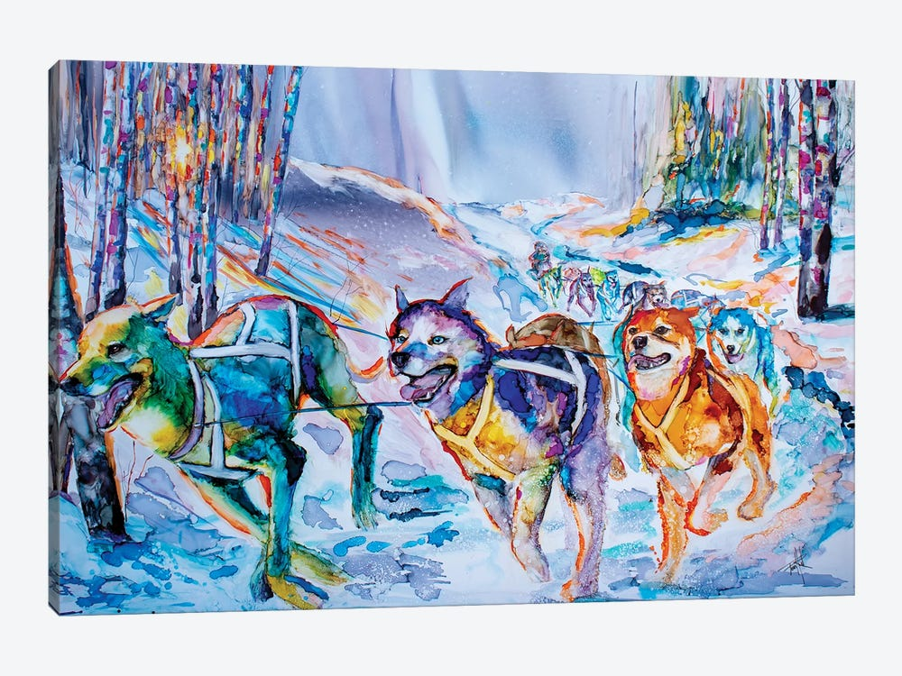 Paws in Motion by Art by Leslie Franklin 1-piece Canvas Art