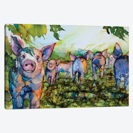Pig Tales Canvas Print #LSF49} by Art by Leslie Franklin Canvas Art Print