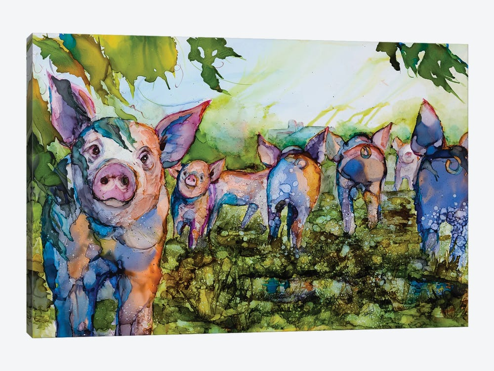 Pig Tales by Art by Leslie Franklin 1-piece Canvas Art Print