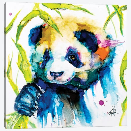 Bamboo Anda Panda Canvas Print #LSF4} by Art by Leslie Franklin Canvas Print