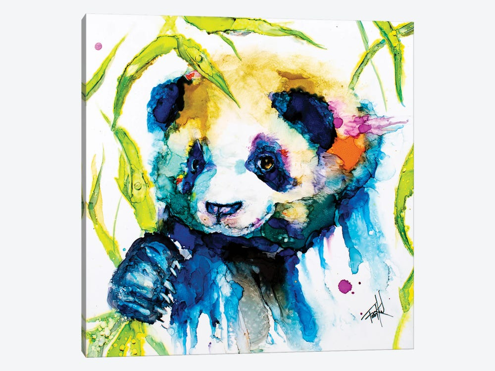 Bamboo Anda Panda by Art by Leslie Franklin 1-piece Canvas Print