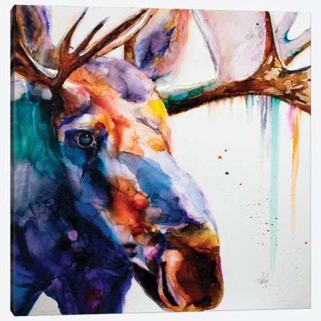Somewhat A Moosing Canvas Print #LSF59} by Art by Leslie Franklin Canvas Artwork