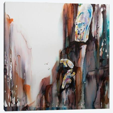 Bears on the Rocks Canvas Print #LSF5} by Art by Leslie Franklin Canvas Art Print