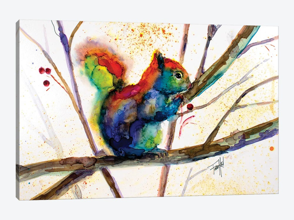 Squirreled Away by Art by Leslie Franklin 1-piece Canvas Art