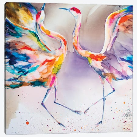 The Dating Crane Canvas Print #LSF62} by Art by Leslie Franklin Canvas Print