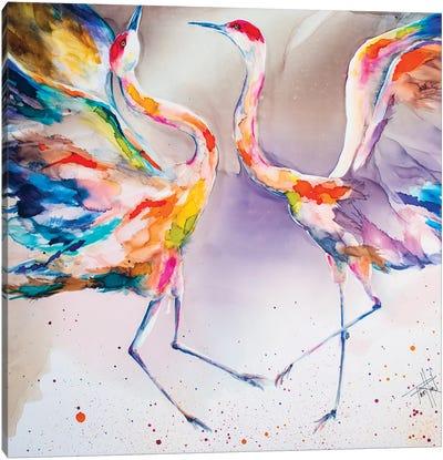 The Dating Crane Canvas Art Print