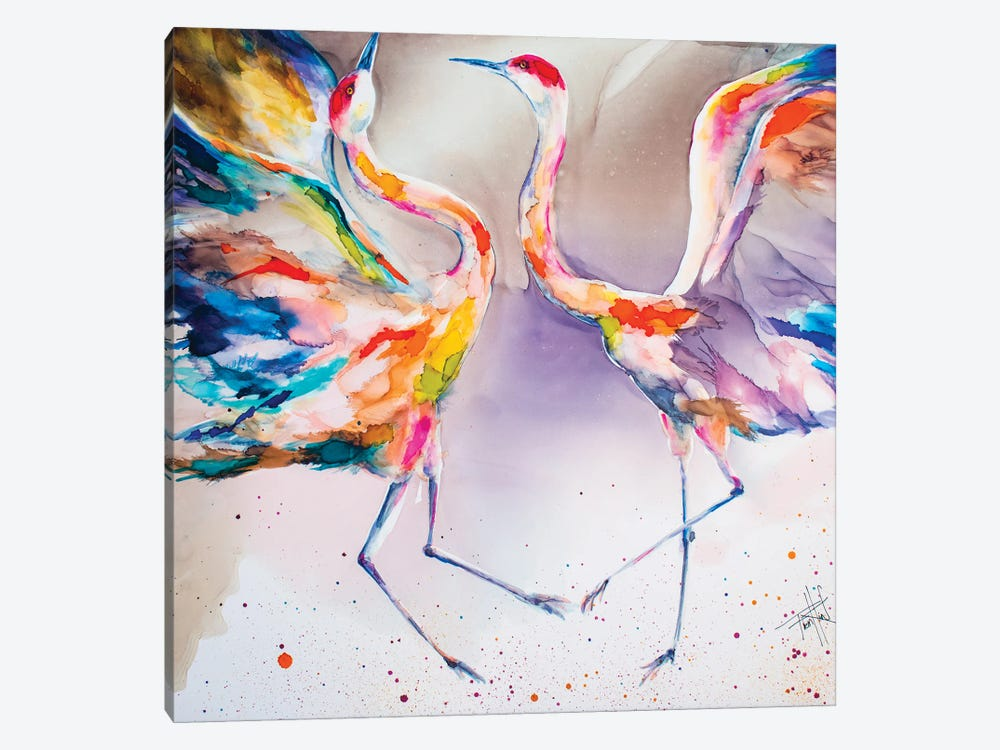 The Dating Crane by Art by Leslie Franklin 1-piece Canvas Artwork