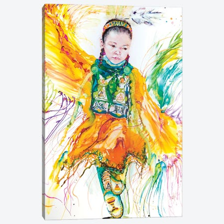 The Shawl Dancer Canvas Print #LSF65} by Art by Leslie Franklin Canvas Artwork