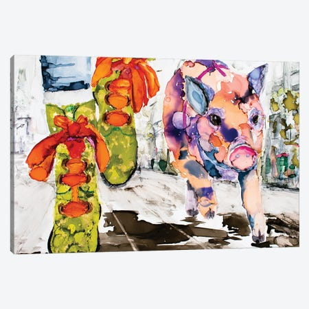 Walk Your Hog in Fluevogs Canvas Print #LSF72} by Art by Leslie Franklin Canvas Wall Art