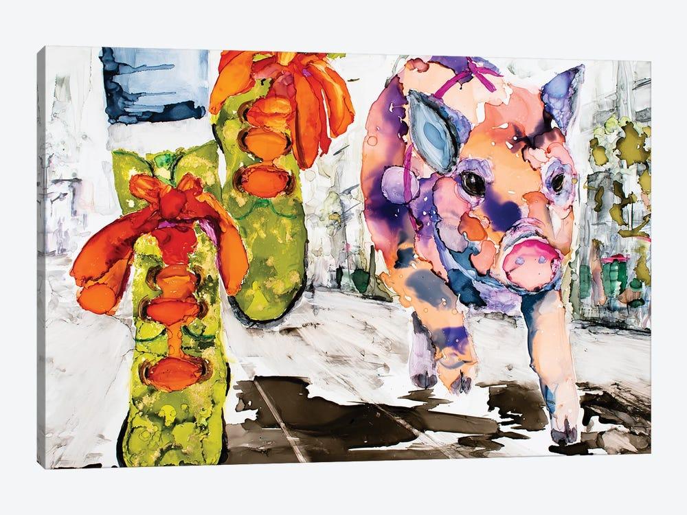 Walk Your Hog in Fluevogs by Art by Leslie Franklin 1-piece Canvas Print
