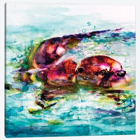 Water Otter Canvas Print #LSF73} by Art by Leslie Franklin Canvas Artwork