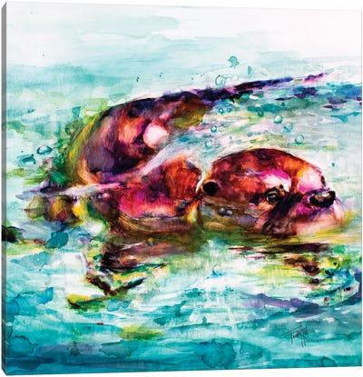 Water Otter Canvas Art Print