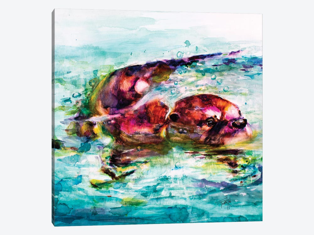 Water Otter by Art by Leslie Franklin 1-piece Canvas Art