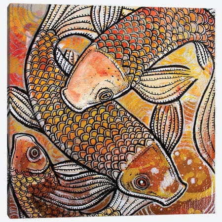 Three Koi Canvas Print #LSH105} by Lynnette Shelley Canvas Print