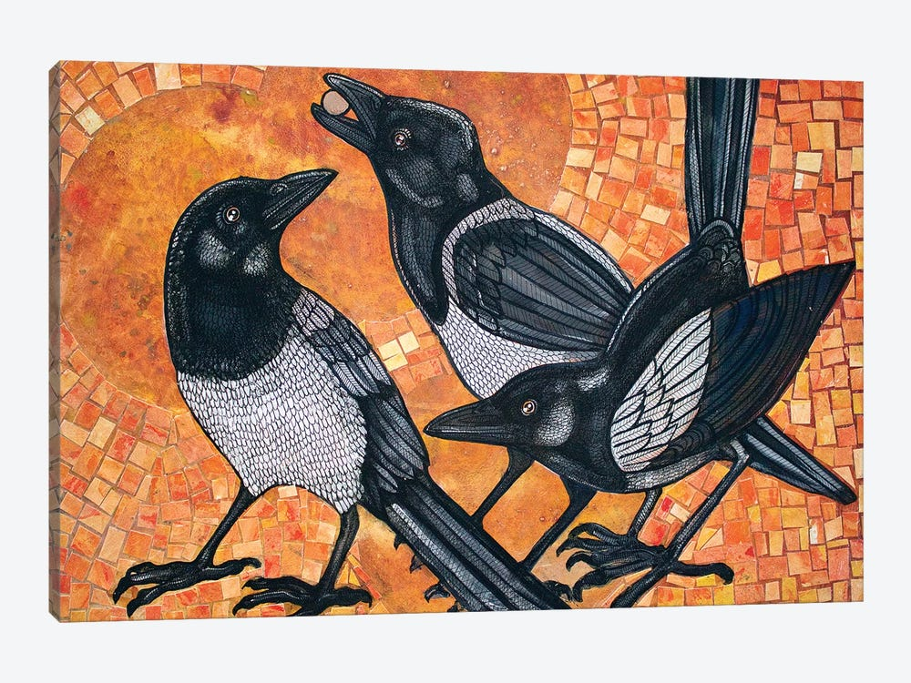 Three Magpies by Lynnette Shelley 1-piece Canvas Art