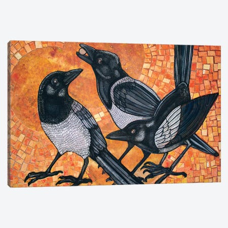 Three Magpies Canvas Print #LSH106} by Lynnette Shelley Canvas Art Print