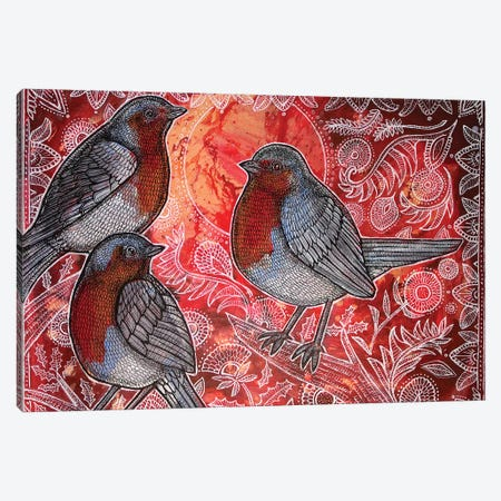 Three Robins Canvas Print #LSH107} by Lynnette Shelley Canvas Print