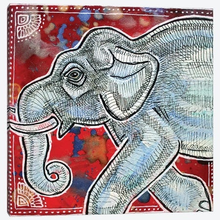 Traveling Elephant Canvas Print #LSH108} by Lynnette Shelley Canvas Wall Art
