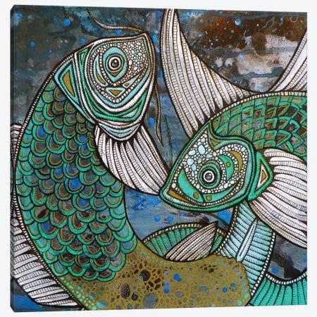 Two Blue Koi Canvas Print #LSH112} by Lynnette Shelley Canvas Art Print