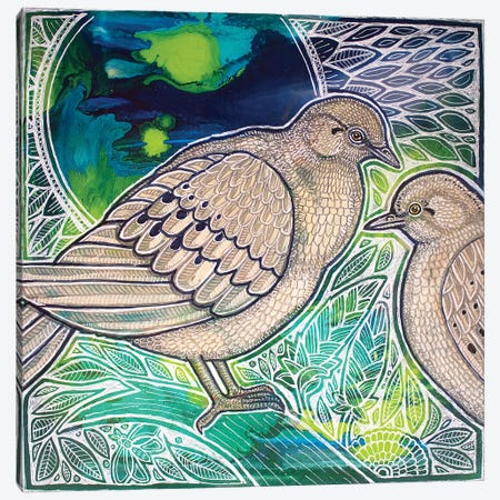 Two Mourning Doves Canvas Print #LSH116} by Lynnette Shelley Canvas Wall Art