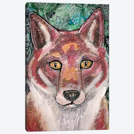 Waiting Fox Canvas Print #LSH120} by Lynnette Shelley Canvas Artwork
