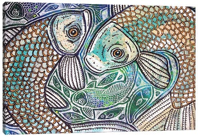 Blue Fish Swirl Canvas Art Print