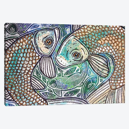 Blue Fish Swirl Canvas Print #LSH133} by Lynnette Shelley Canvas Art Print