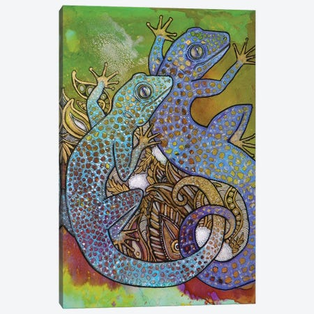 Blue Geckos Canvas Print #LSH13} by Lynnette Shelley Canvas Art