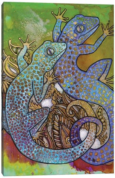 Blue Geckos Canvas Art Print