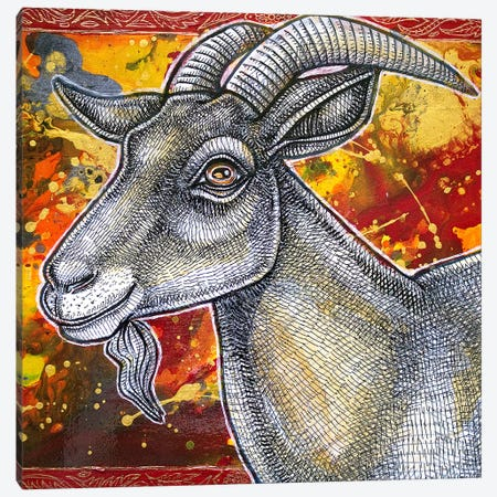 The Happy Goat Canvas Print #LSH145} by Lynnette Shelley Canvas Art Print
