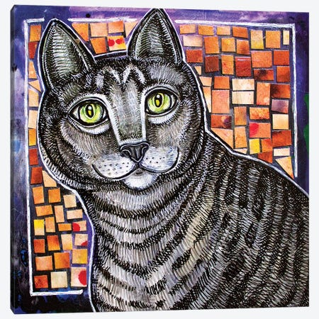 Curiosity And The Cat Canvas Print #LSH151} by Lynnette Shelley Art Print