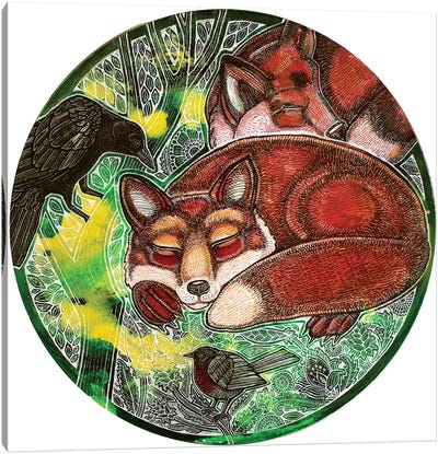 Dreaming Foxes Canvas Art Print