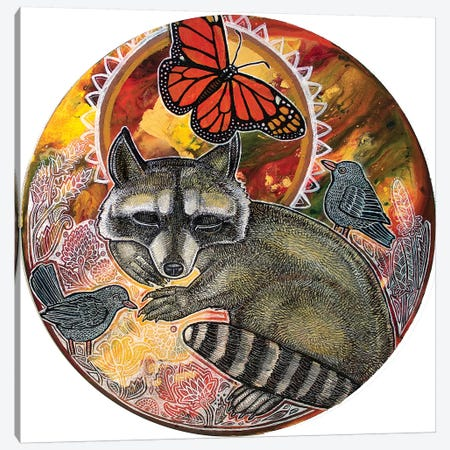 Dreaming Raccoon Canvas Print #LSH154} by Lynnette Shelley Canvas Artwork