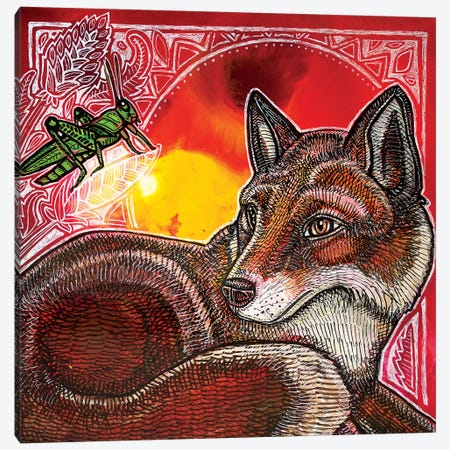Fox And Grasshopper Canvas Print #LSH158} by Lynnette Shelley Art Print