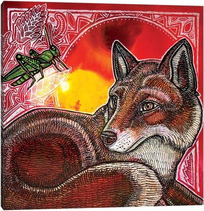 Fox And Grasshopper Canvas Art Print